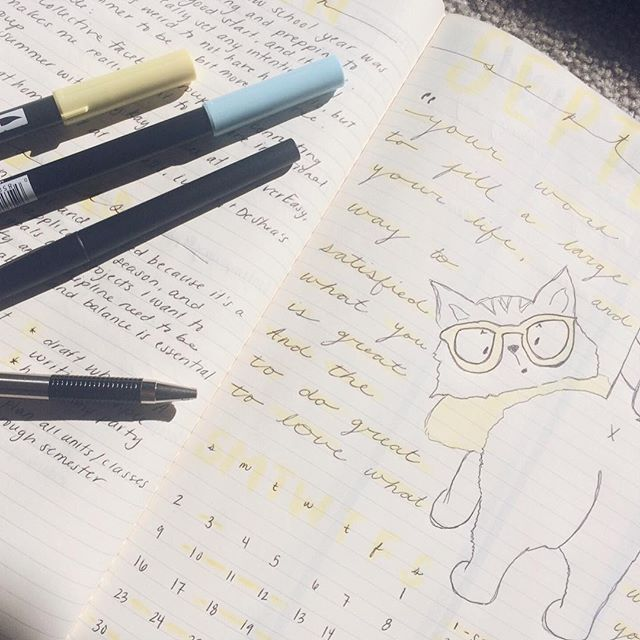 I spent the day yesterday planning life, teaching, writing, and blogging, and it was wonderful. September's bullet journal cover page features hipster cat, complete with glasses and a scarf.  #writelife #writeratwork #hipstercat #iteachhighschool #ela #multipassionate #bujo #september #planning