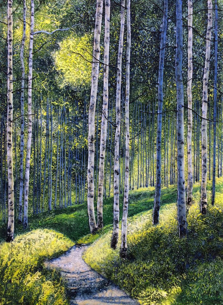 Summer Path Through the Birch Trees