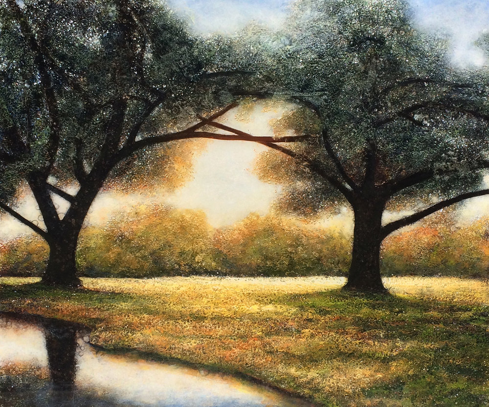 """Oaks on the Water"" (34"" x 36"")"