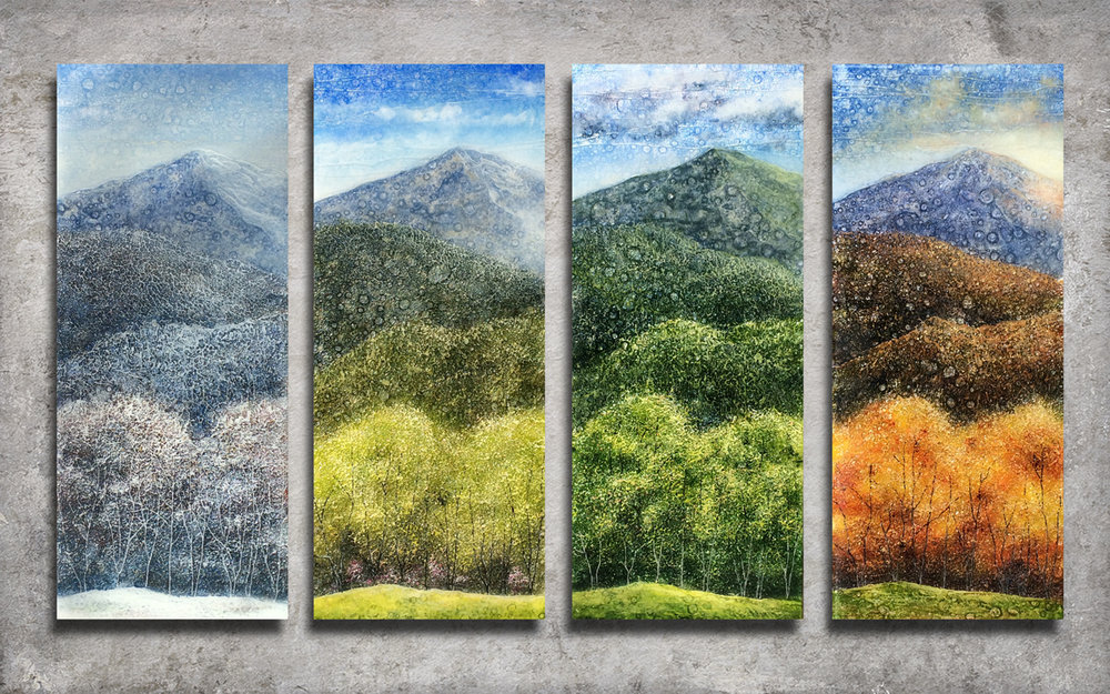 """Four Seasons on the Blue Ridge"" (Each panel 10"" x 24"")"