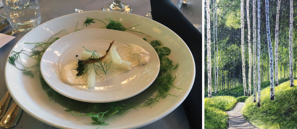 "My painting (""Stroll Through the Birch Trees"") was pared with salsify, fennel, pea tendrils, local cheese and smoked onion ash. Note: there was fog coming from the bottom plate, wafting up around the pea tendrils. Amazing!!"