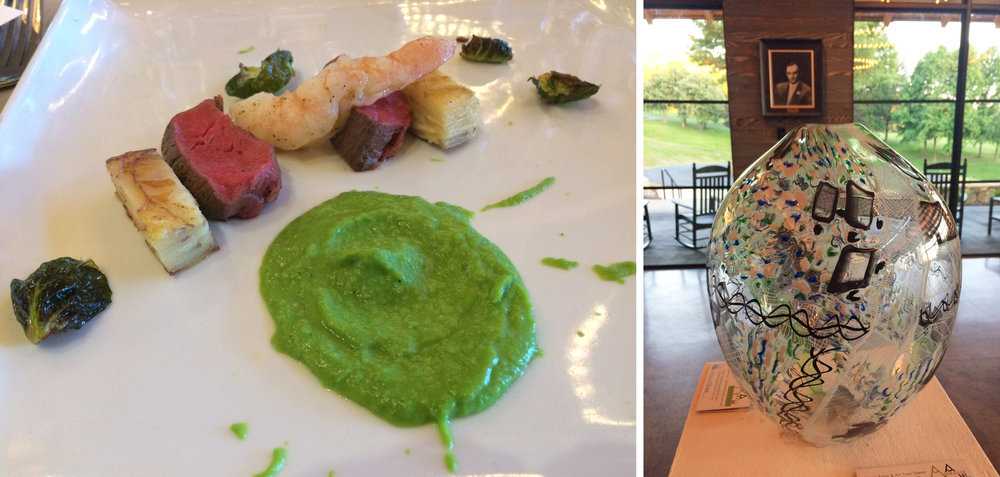 John Almaguer's Venetian glass vase was pared with sous vide beef tenderloin, sweet pea puree and butter poached North Carolina shrimp.
