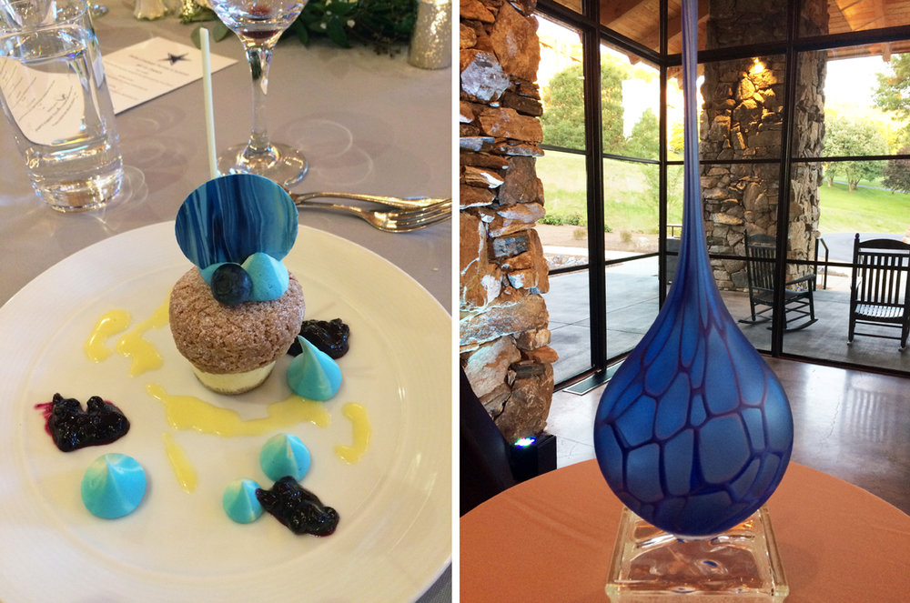 Hayden Wilson's Venetian glass vase was pared with vanilla cheesecake, blueberry cream puff, blueberry compote, with chocolate Chantilly and lemon sauce.