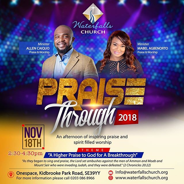 Hi Family, join me this Sunday as we Praise Through 2018 💃🏽💃🏽💃🏽 This Sunday at Waterfalls Church Kidbrooke @2:30pm. Minister @allen_caiquo will be there also! It's going to be an AWESOME time!