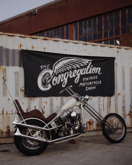 The Congregation Vintage Motorcycle Show banner in North Carolina done by Dan