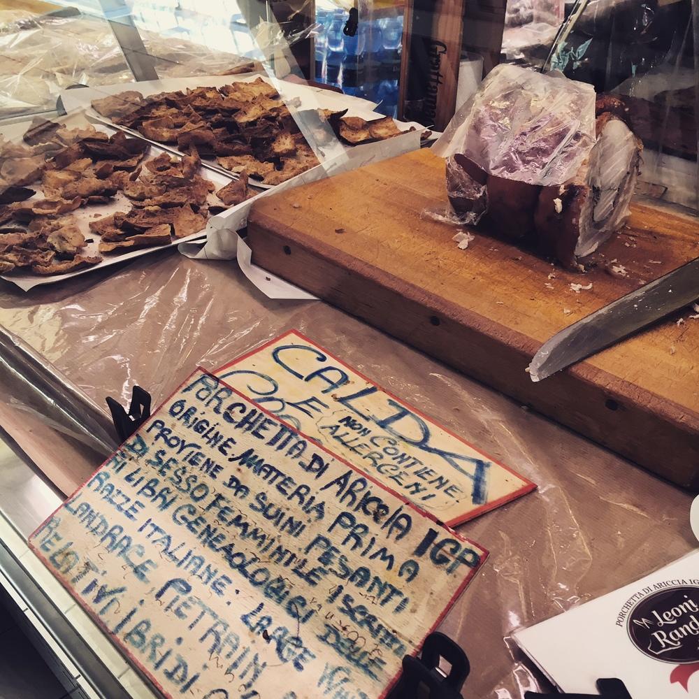 Porchetta di Aricola IGP at Mercato Trionfale