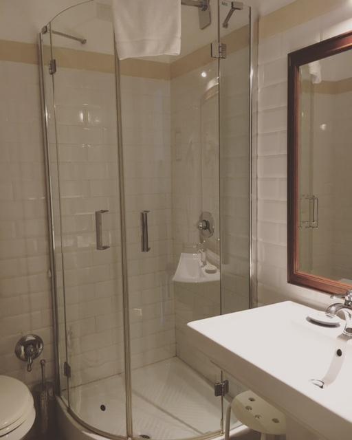 Typical en-suite at the Blue Hostel