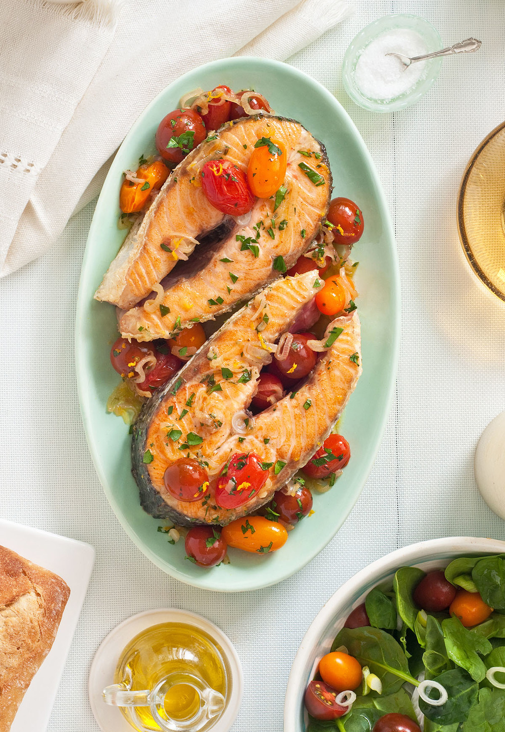 Orange Cumin Roasted Salmon with Cherry Tomatoes