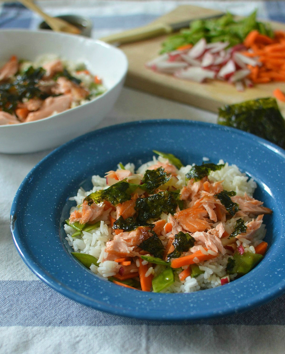 Salmon Rice Bowl with Mermaid Chips