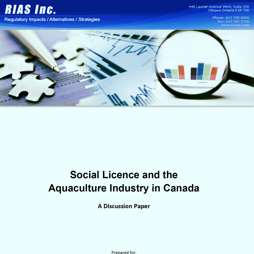 Social Licence and the Aquaculture Industry in Canada  – A Discussion Paper