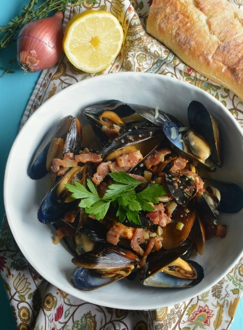 Mussels with Cider, Bacon, and Dijon