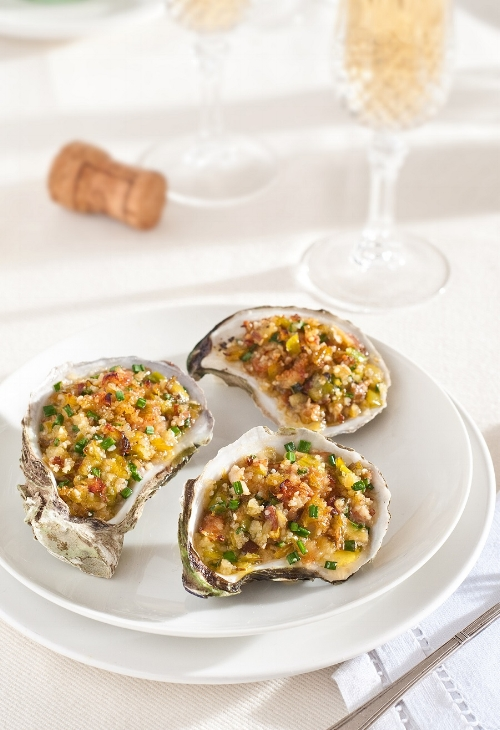 Baked Oysters with Leeks and Pancetta