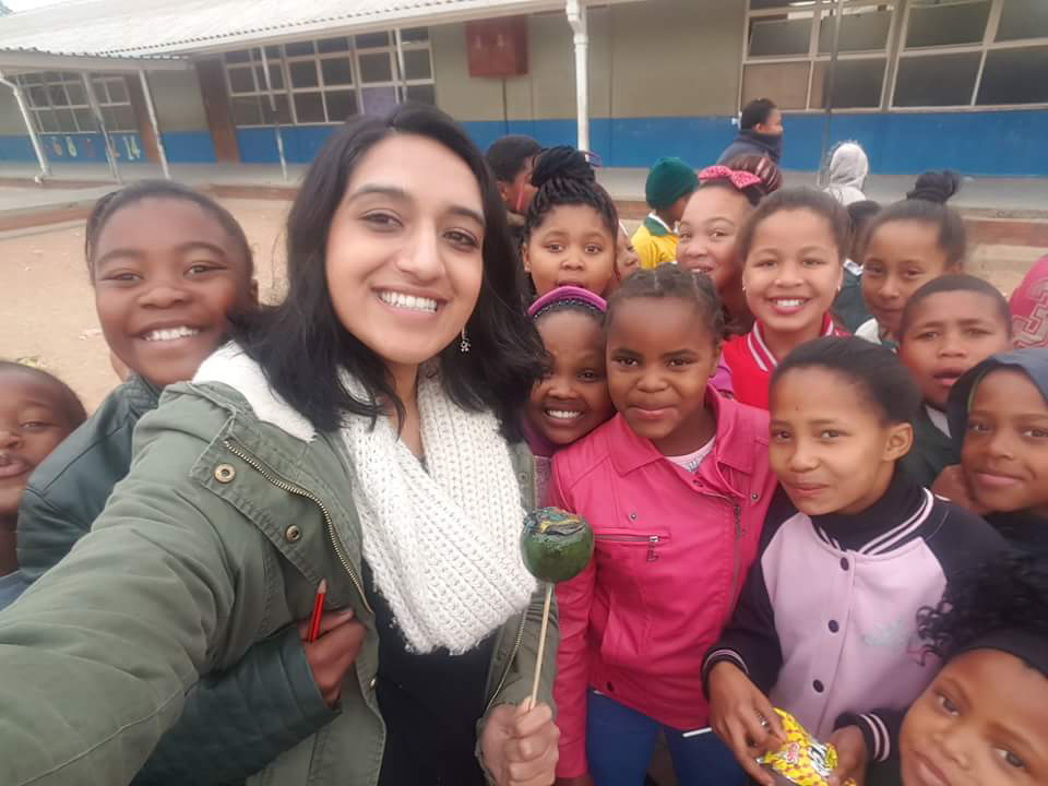 Simran Grewal with Cradock children.