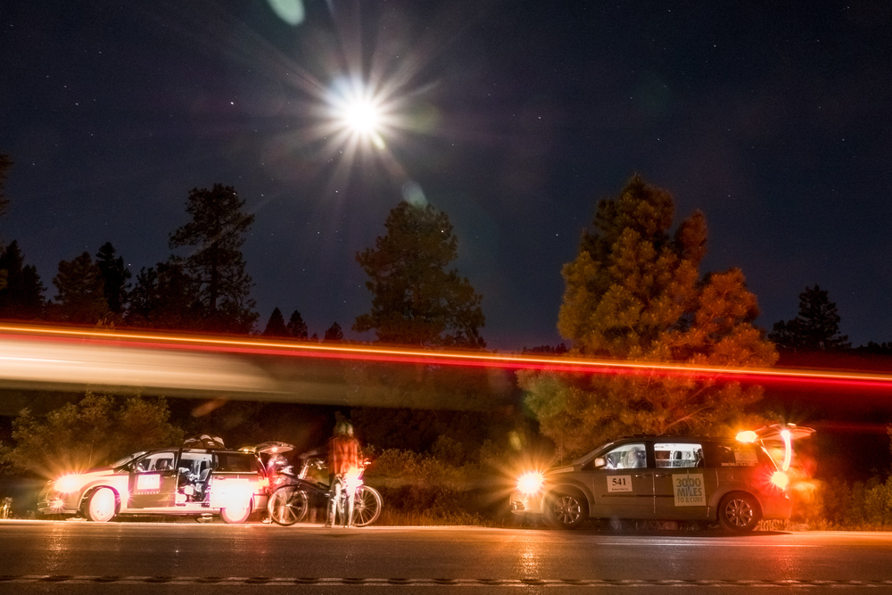 """Night's are hard and that's when the exhaustion really sets in,"" said Rob.  The Race Across America involves pedaling through the day and the night.  There's a bit of chaos in the nighttime.  The follow vehicles blast music to wake Rob up, feed him loads of caffeine, and push him past his limits to keep him going."