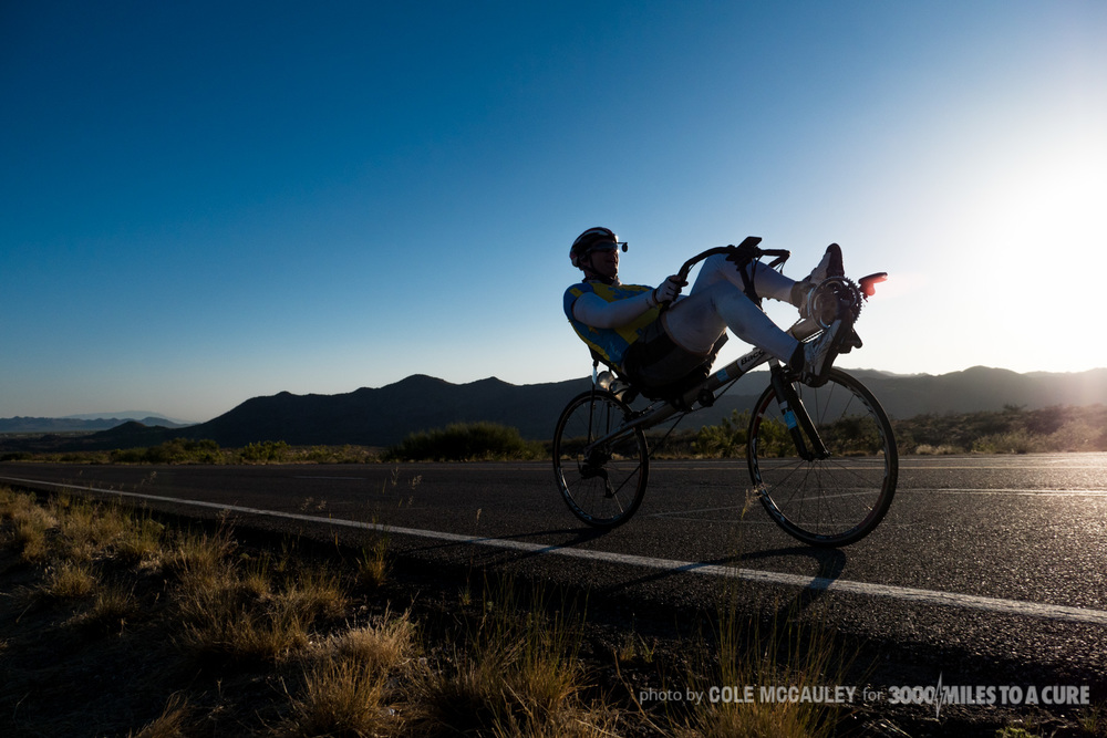 Rob endured all types of terrain through the trip.  The heat of the deserts in Arizona, steep climbs through the Rockies in Colorado, and long stretches of humid flatlands through Missouri all demonstrated different challenges to Rob.