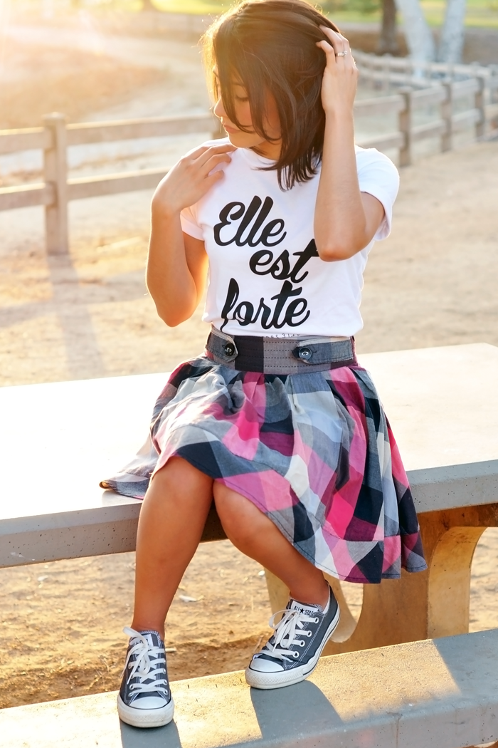 TriStyle & Co., She is Clothing, Chucks, Casual Style, tee and skirt