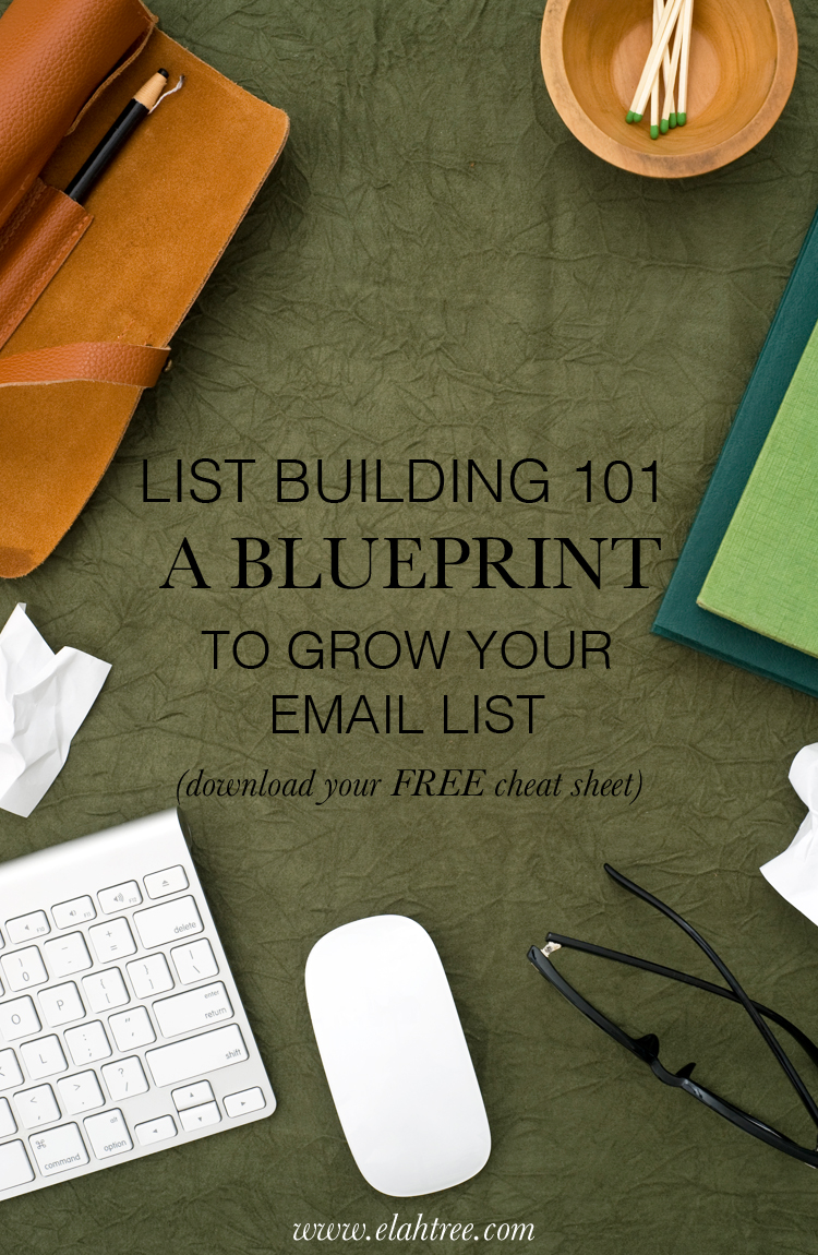 List Building 101: A blueprint to grow your email list. Download your free cheat sheet!