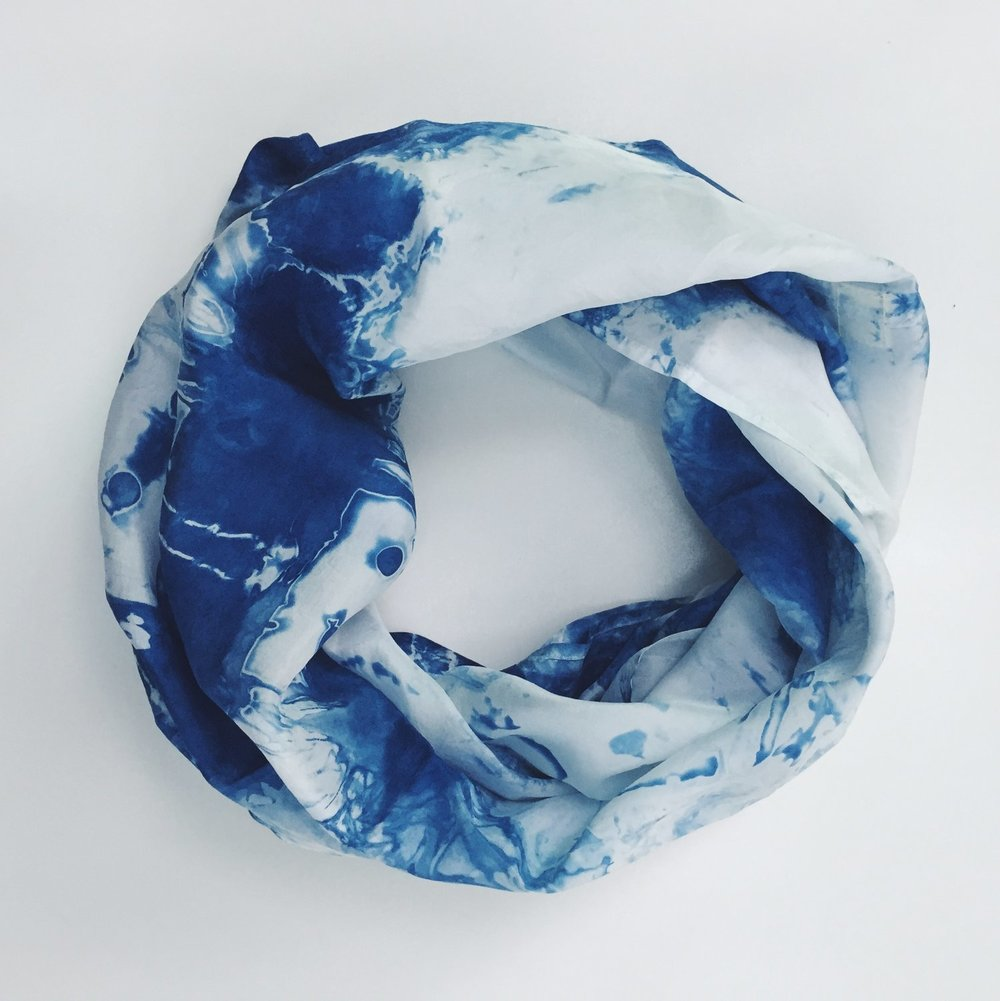 Even if the artisan behind Garner Blue has been hand-dying indigo textiles sine 2013 and has a very cool array of pillows, scarves, wraps and more that showcase her designs.