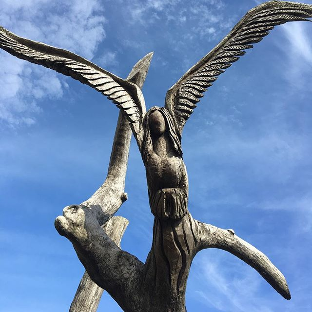 I've been thinking of this tree angel a lot, how it's carved into a limb by a chainsaw sculptor, how the tree—before it became art—served as a life raft for three Katrina survivors and their dog, how a citizen saved it from being uprooted in the early 1900s, how it was in the right place at the right time.