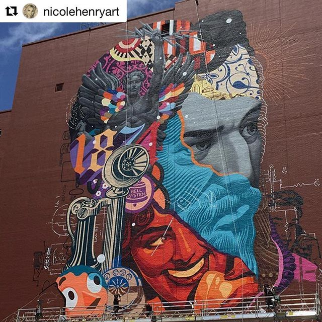 #Repost @nicolehenryart ・・・ @tristaneaton killing it on his new mural in @downtownwpb at #Alexanderlofts. Great to see all this epic art taking over the walls of #WestPalmBeach! #streetart #urbanart #publicart #nicolehenryart #tristaneaton #mural #epic