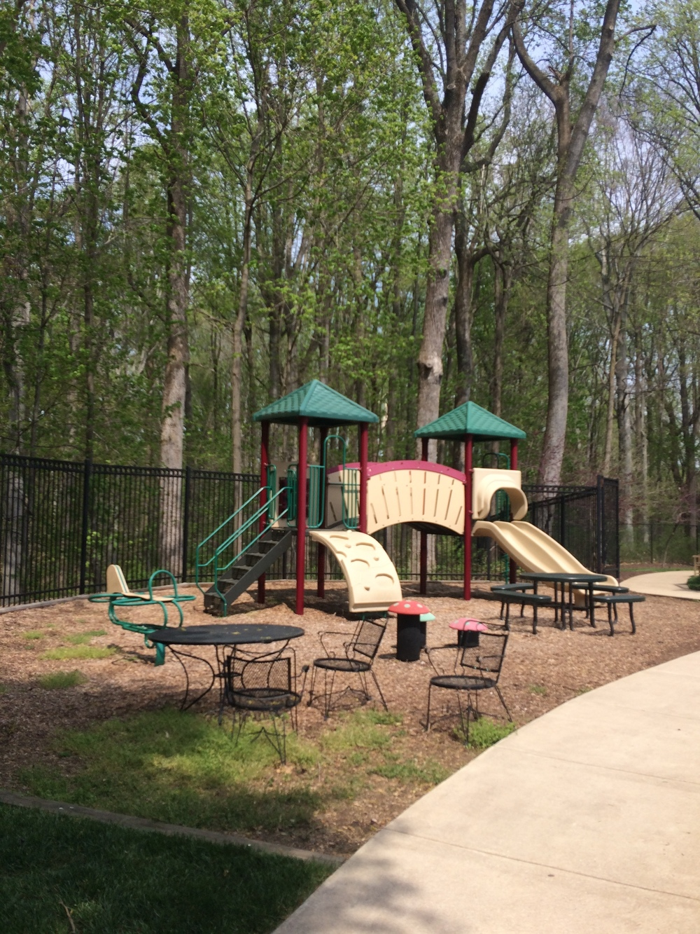 The playground in the backyard of the assisted living and memory care homes.