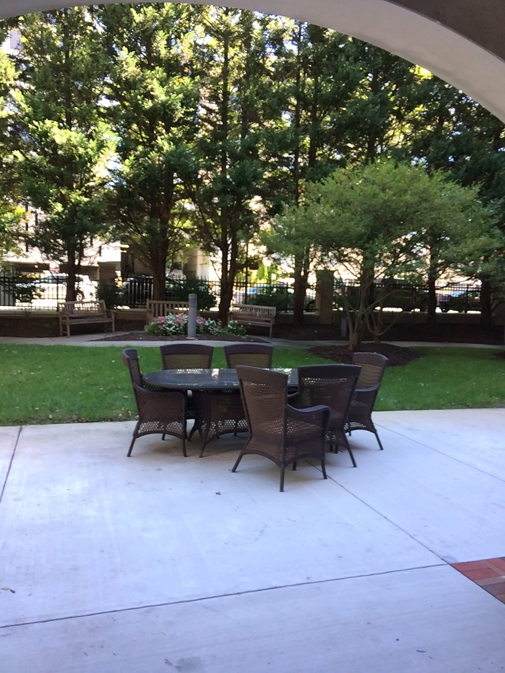 Outdoor seating area at Brighton Gardens