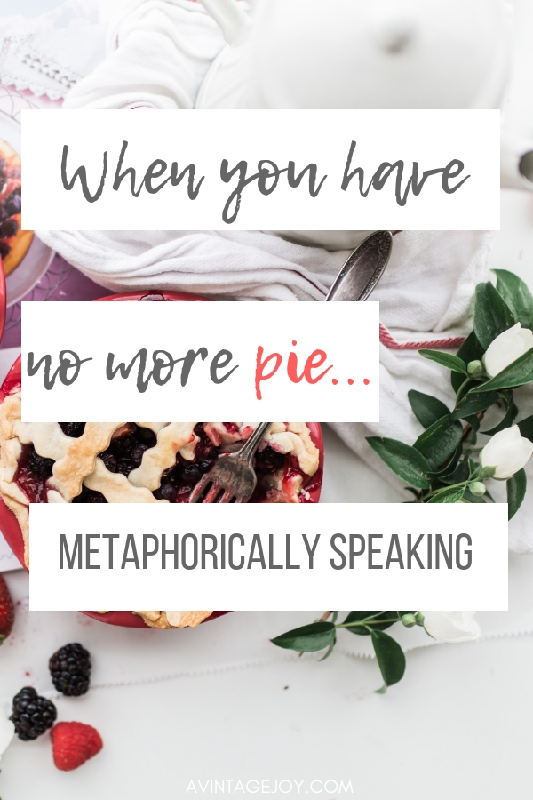 """Life can be difficult. There are so many different things that pull at each of us throughout our week. Small bits of our """"pie"""" we give away day after day. How to you reset? How to you make sure you still have pie?"""