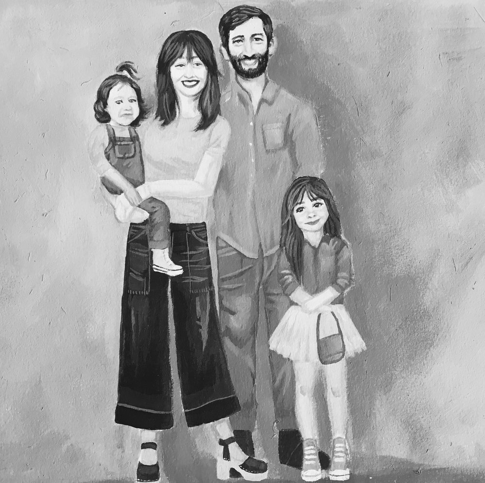 Commissioned painting of our family done by my incredibly talented and dear friend, Emily. You can see the colorful version of the painting here.