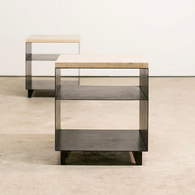 Our Asher end table blends the beauty of hot rolled steel and cerused white oak. Available at subeau.com #design #modern #interiordesign #furniture #simple #minimal