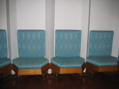 Price Tower - built-in chairs in interior hallway