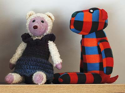 samples for classes - crochet bear and sock dog