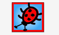 ladybug design with colored background and border