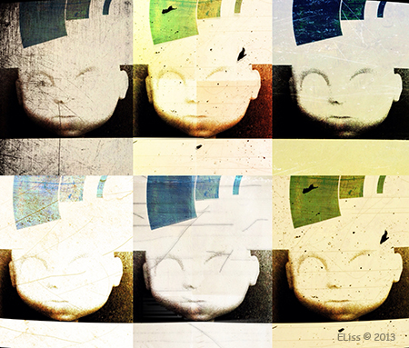 6 Doll Heads - photo collage print