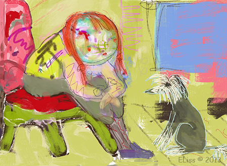 Talking To My Dog digital painting by Ellifolks