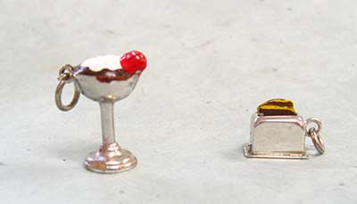 vintage sterling and enamel charms