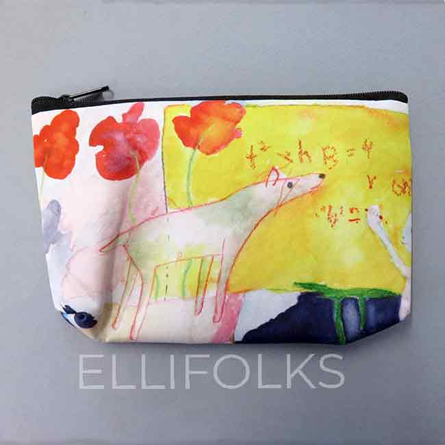 Blackboard Dog - small zipper pouch
