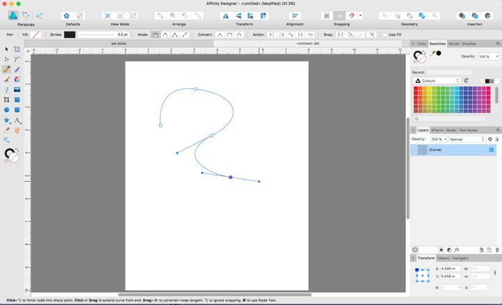 screenshot of Affinity Designer showing large nodes pen tool uses.