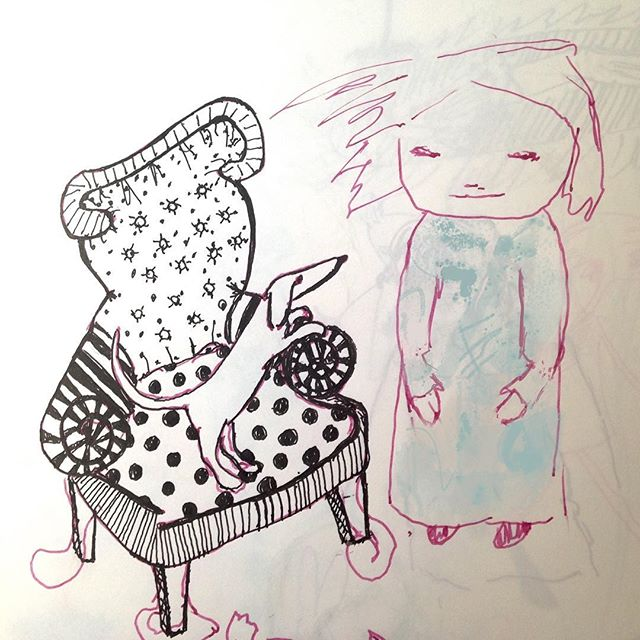 Sketchbook - fountain pen sketchbook sketch - Girl with Dog and Chair. #sketching #doodlesketch #dogonchair #girlwithdress #girl #pensketch #ellifolks