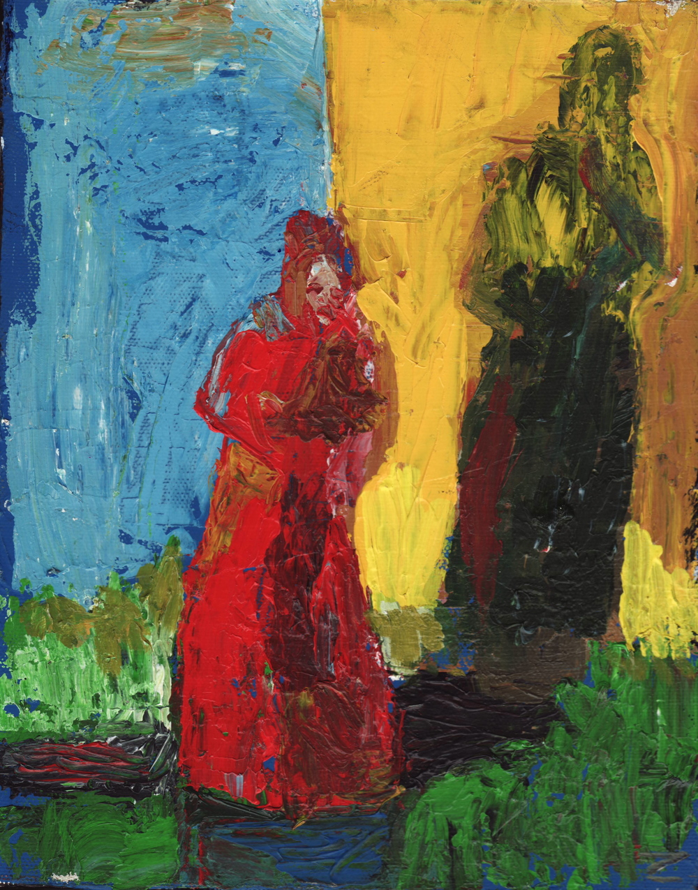 painting lady in red 8inc by 10 oil 2006.JPG
