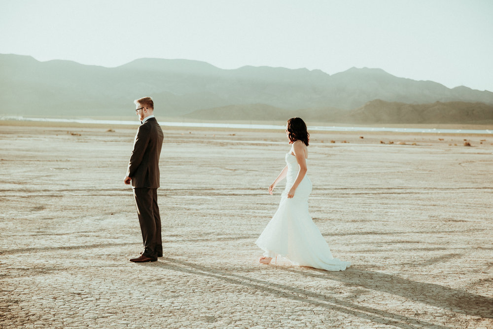 First Look - Seattle Wedding Photographer - Las Vegas Wedding Photography - Dry Lake Bed - Small Intimate Wedding - Rustic Wedding