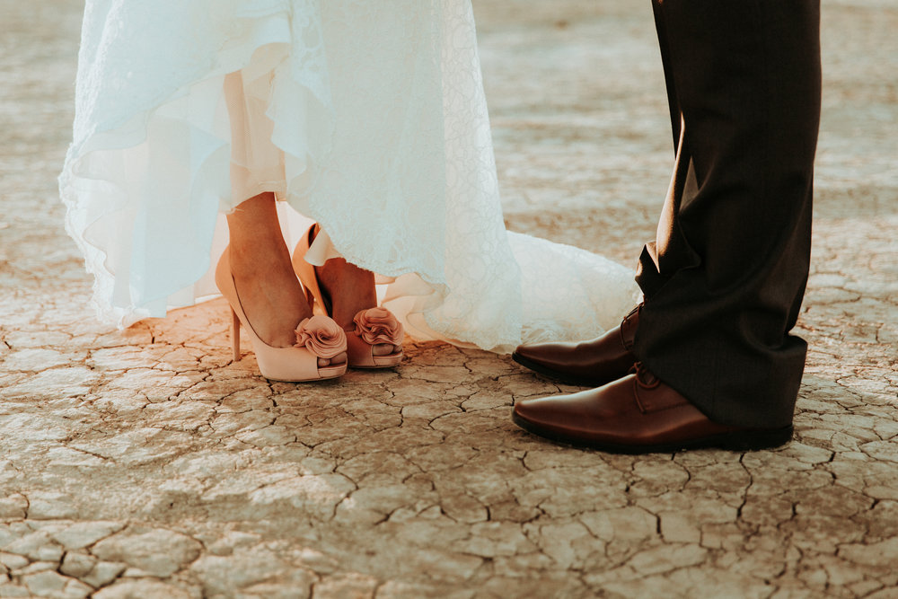 Las Vegas Wedding Photography - Seattle Wedding Photographer - PNW Wedding Photographer - Portland Elopement Photographer - PNW Wedding Photographer - Detail Shots - Bride and Groom - Beautiful Wedding - Wedding Shoes - Dry Lake Bed