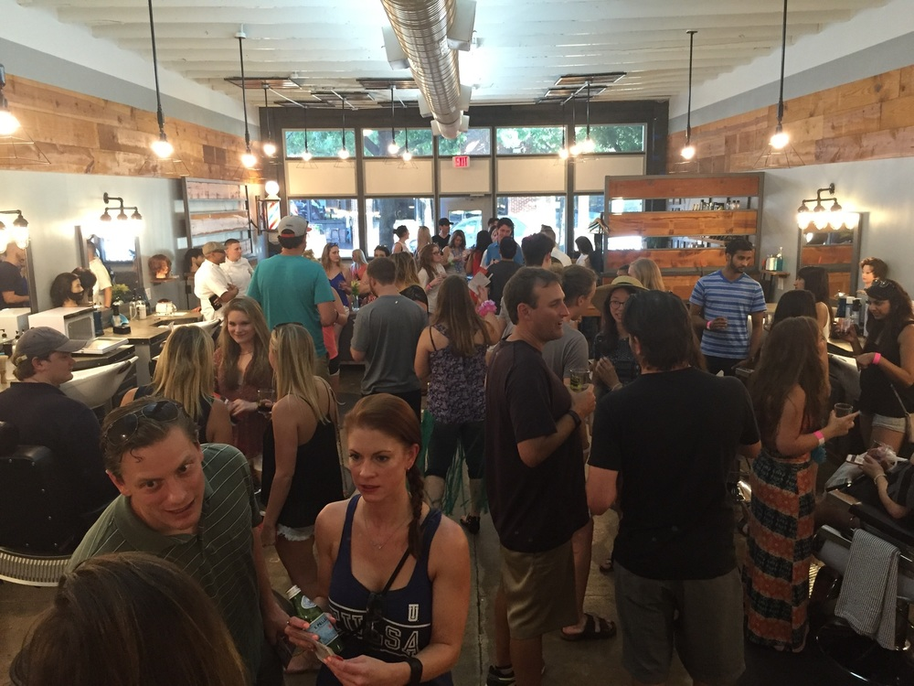 Deep Ellum Events hosts the Deep Ellum wine walk in which Blade Craft participates in with it's students and staff. It's the 3rd Thursday of every month from 6-9 P.M. You pay $10 for a glass at Life of Riley, and wine hop at all of the local businesses that partake in the event. Blade Craft offers a red and white wine spritzer with complimentary neck shaves.