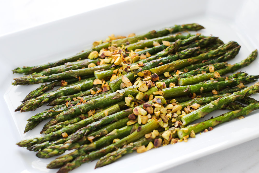 roasted asparagus with preserved lemon and pistachio