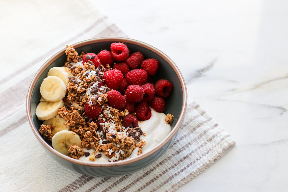 Yogurt Bowls - These are my go-to morning bowls when I don't feel like overnight oats or am too hungry after the gym to really think. It's yogurt, fruit, low-sugar granola (keep it less than a 1/4 cup!), and a spoonful of nut butter drizzled on top (not pictured).