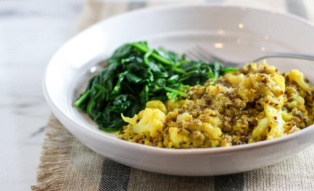 quinoa mung kitchari with cauliflower