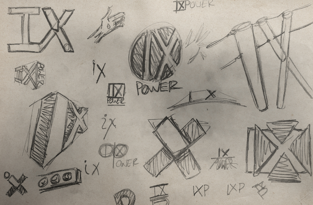 IX Power logo sketches