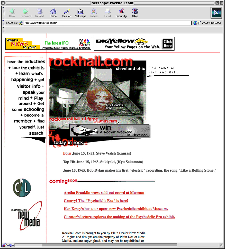 This is my 1997 Design for www.rockhall.com