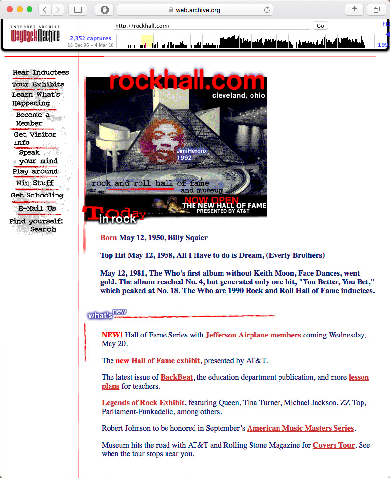 Rockhall. Com as it appeared from 1997-2000.