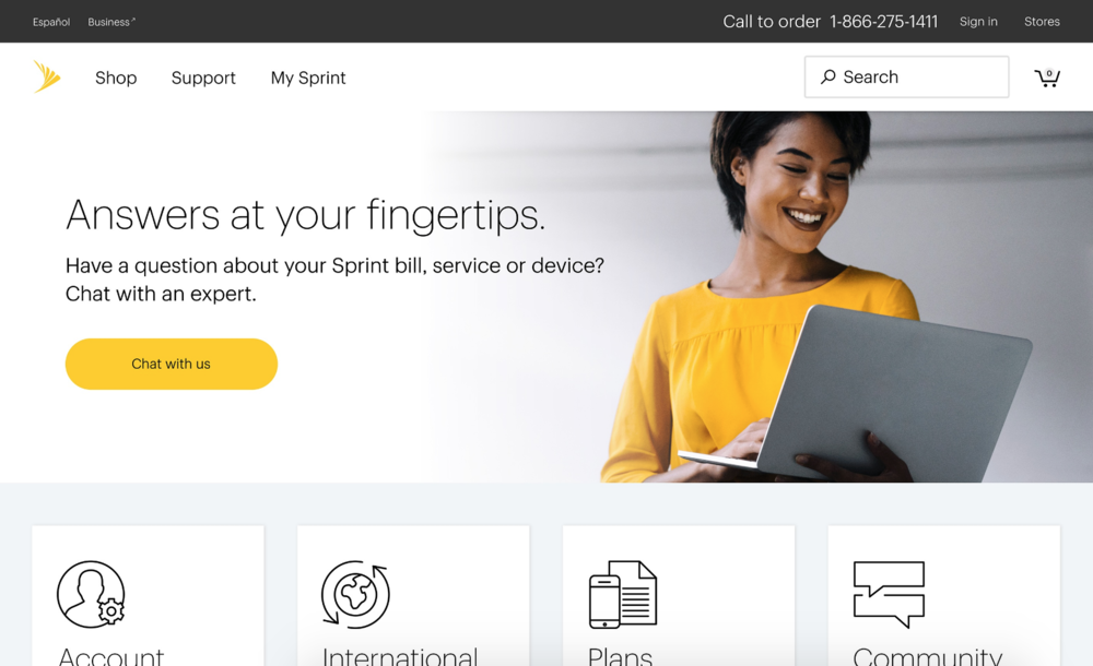 Sprint - Chat Landing Page