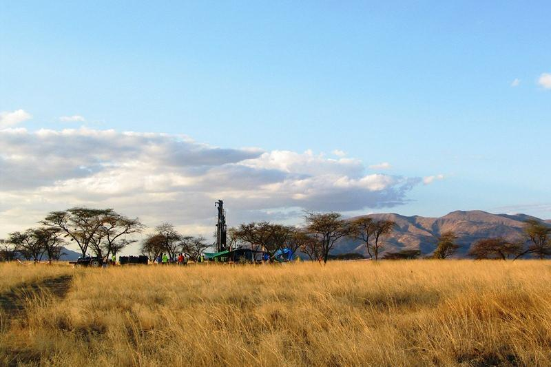 The Olorgesailie Drilling Project, with Mt. Olorgesailie in the distance